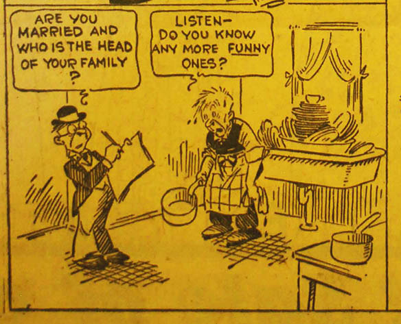 1930 Political Cartoon of census taker asking man in an apron if he is married and who the head of the household is.
