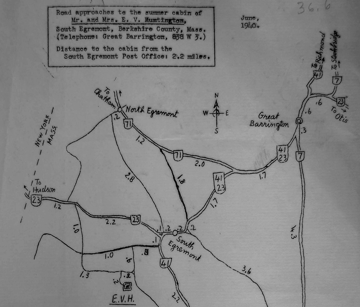 image of mimeographed map to Huntington's cabin in the Berkshires